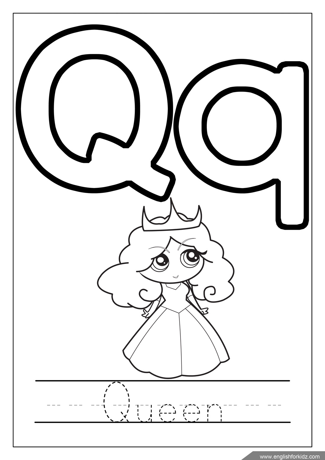 q is for queen coloring page letter q coloring pages at getcoloringscom free queen coloring is page for q