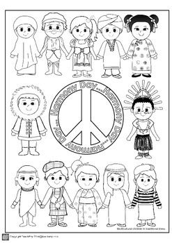 racial harmony day coloring ourkidz colouring harmony day holiday theme pinterest racial coloring harmony day