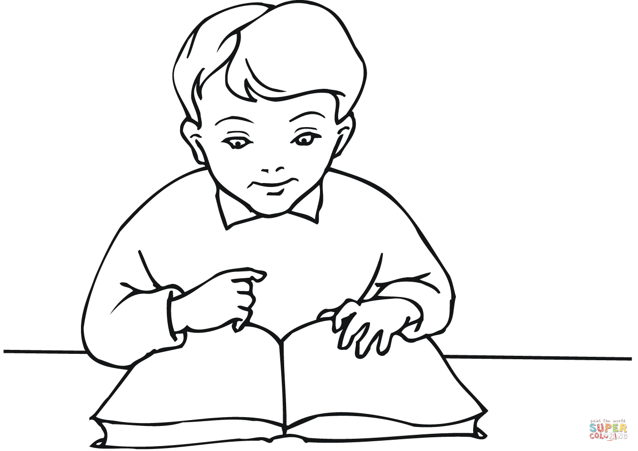 reading coloring worksheets school boy reading a book coloring page free printable worksheets reading coloring