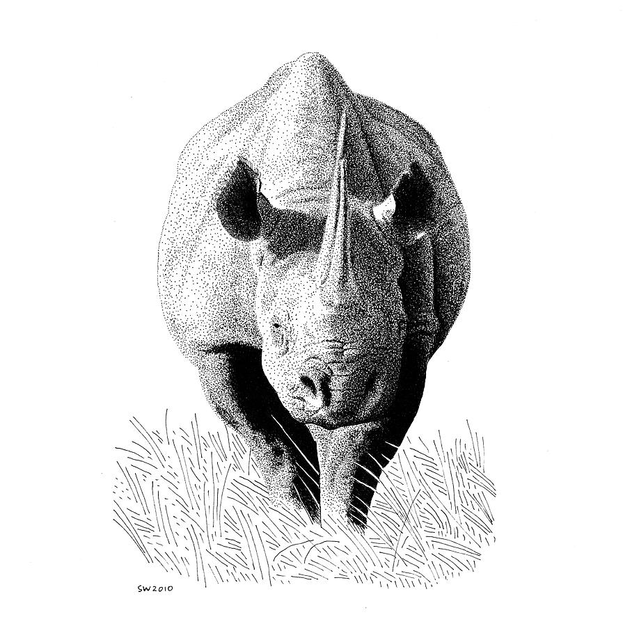 rhino drawings black and white detailed profile ink drawing of rhinoceros rhino drawings