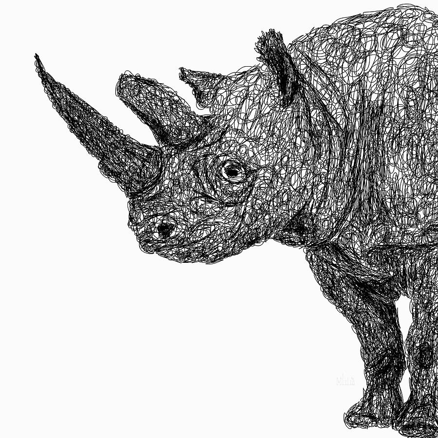 rhino drawings black rhinoceros ink drawing signed by artist rhino drawings