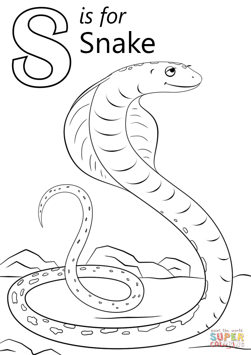 s is for snake letter s writing and coloring sheet for snake s is