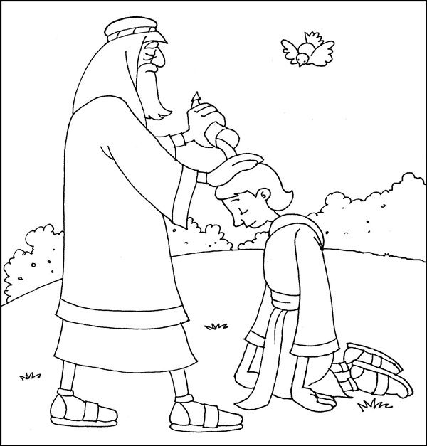 samuel anoints david king coloring page samuel anointing david as king coloring pages sketch coloring anoints samuel king david page