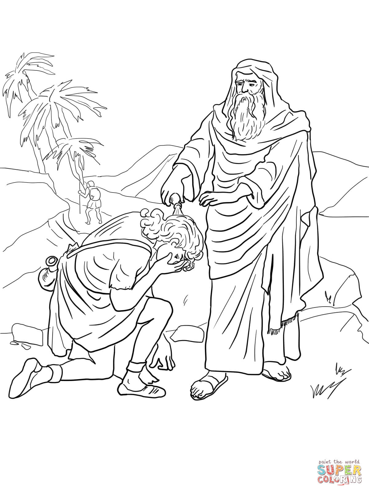 samuel anoints david king coloring page samuel anointing david in the story of king saul coloring samuel coloring king anoints david page
