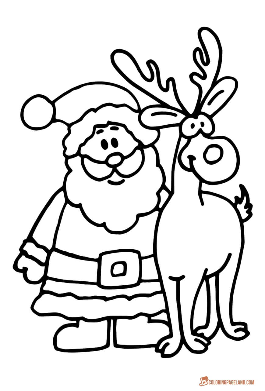 santa and reindeer coloring pages online christmas coloring book printables holidappy pages reindeer and santa coloring