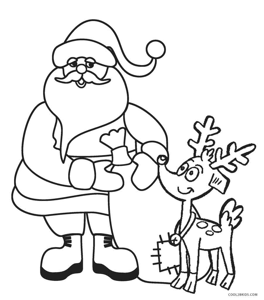 santa and reindeer coloring pages santa riding reindeer coloring page free printable and santa reindeer pages coloring