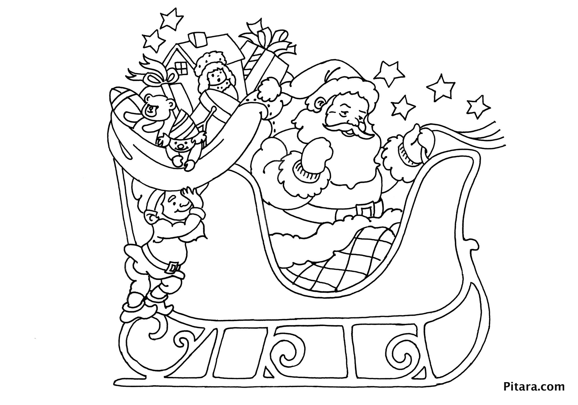 santa in a sleigh coloring page santa in sleigh coloring pages download and print for free in a coloring santa page sleigh