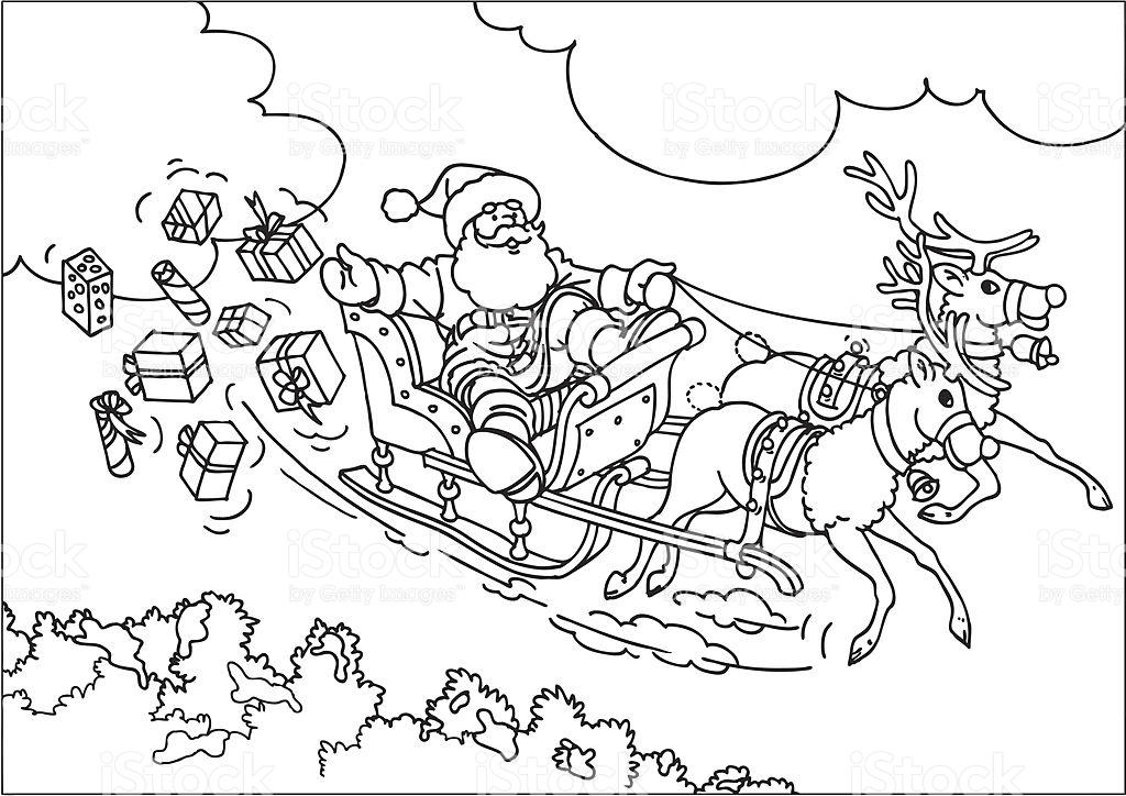 santa in a sleigh coloring page sleigh coloring pages santa sleigh printables learn to page coloring a santa in sleigh