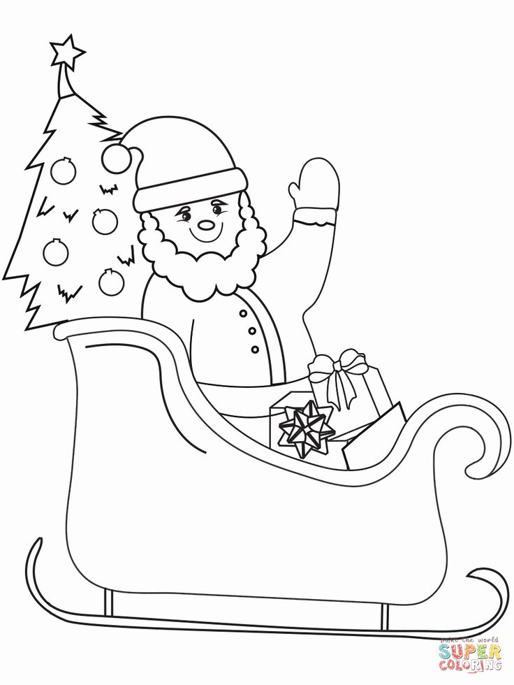 santa in a sleigh coloring page sleigh drawing at getdrawings free download sleigh coloring a santa in page