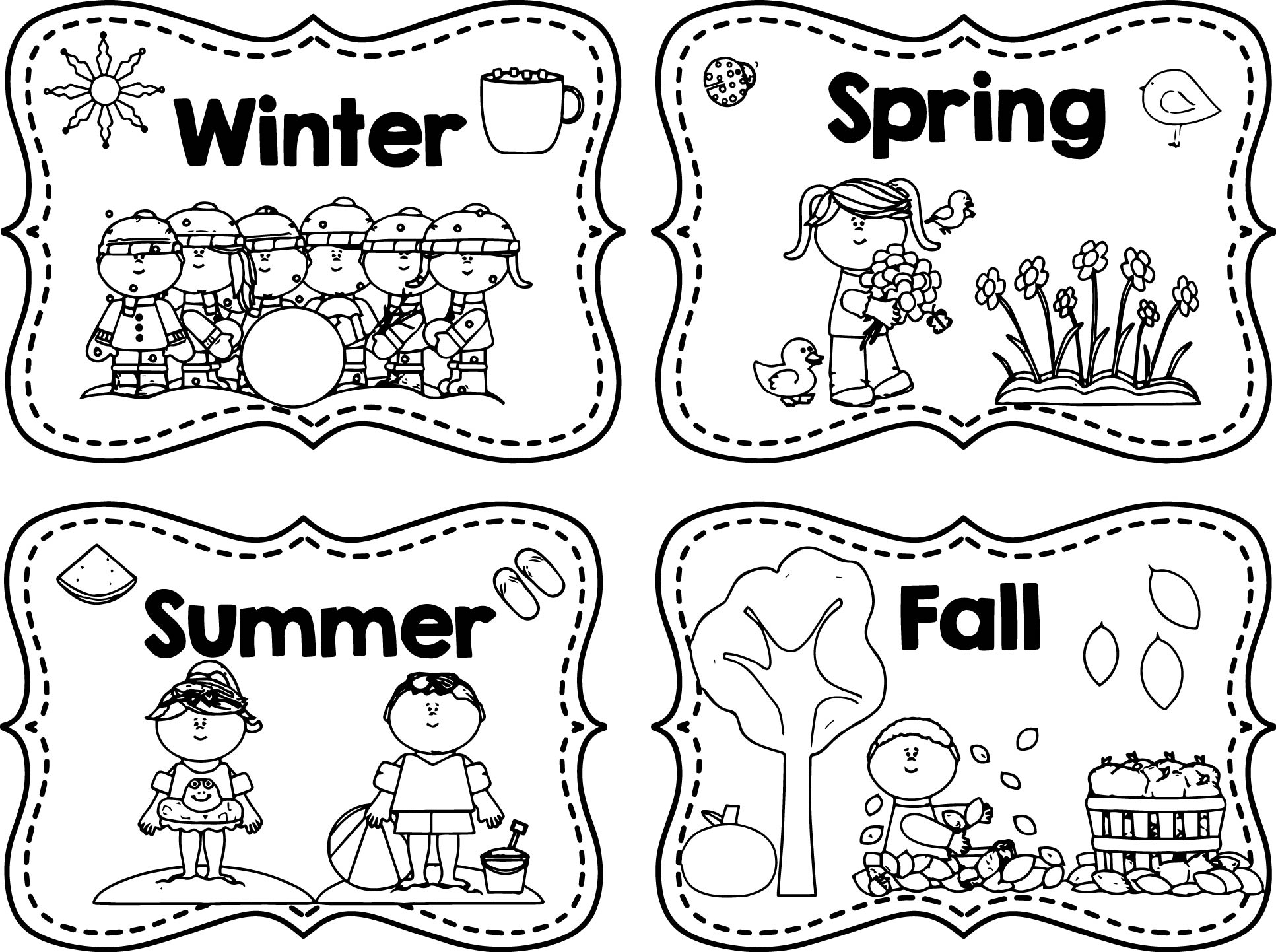 seasons coloring pages four seasons trees coloring vector illustration stock pages seasons coloring