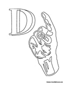 sign language for the letter d sign language alphabet coloring pages d for language the sign letter