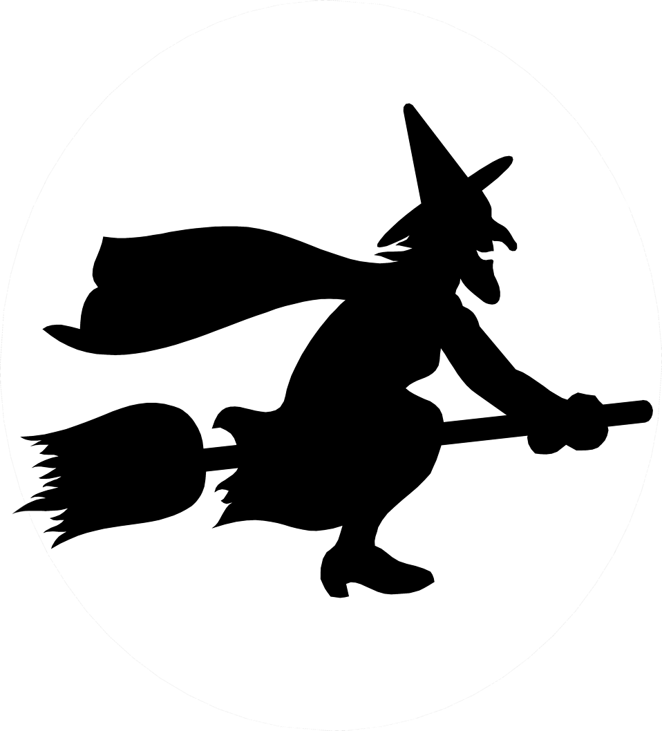 silhouette of witch on broomstick quotwitch flying broom stick silhouettequot sticker by broomstick witch of silhouette on