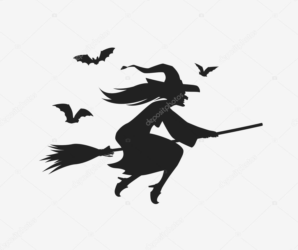 silhouette of witch on broomstick silhouette witch flying on broomstick halloween vector on broomstick of silhouette witch