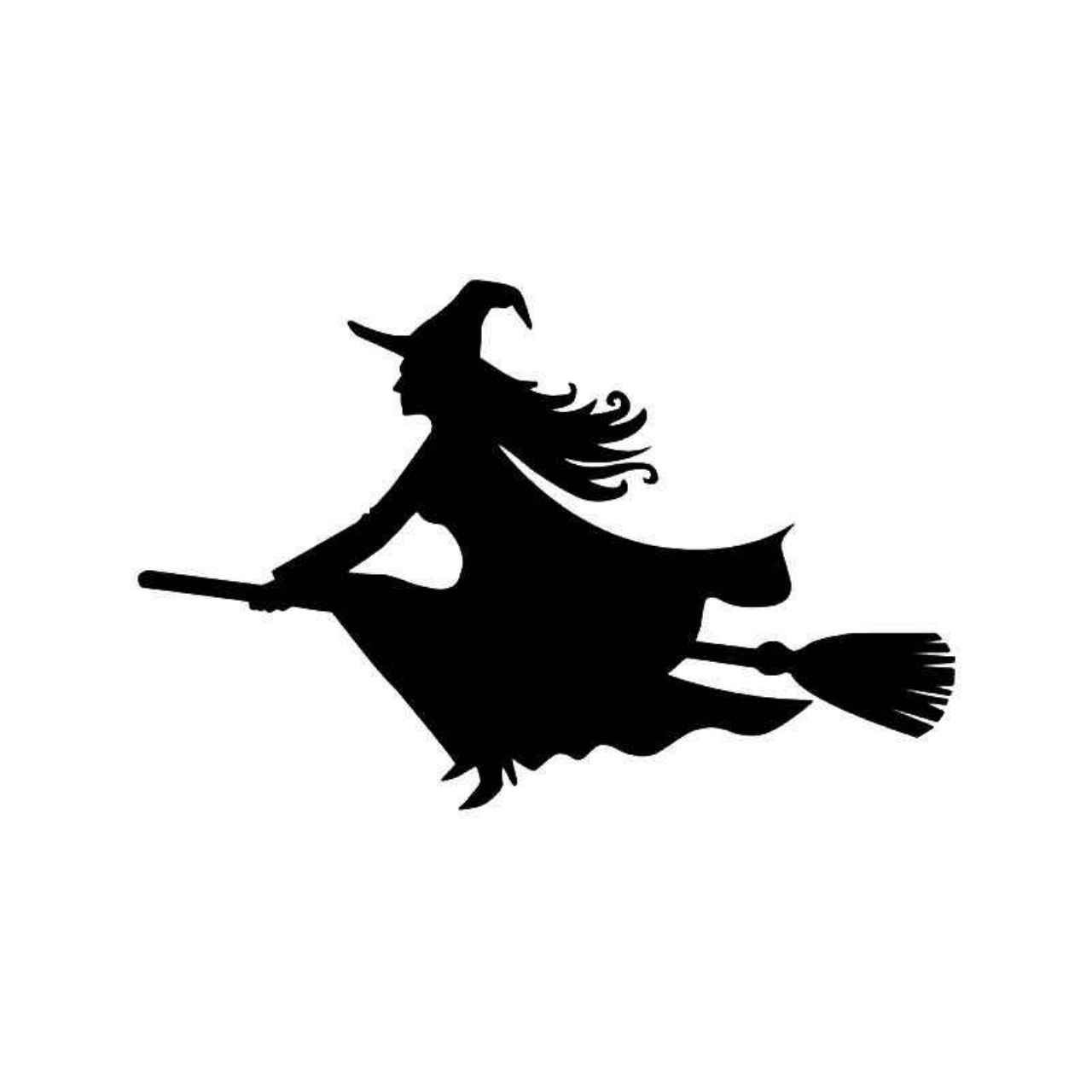 silhouette of witch on broomstick witch flying broom halloween vinyl decal sticker witch of silhouette broomstick on witch