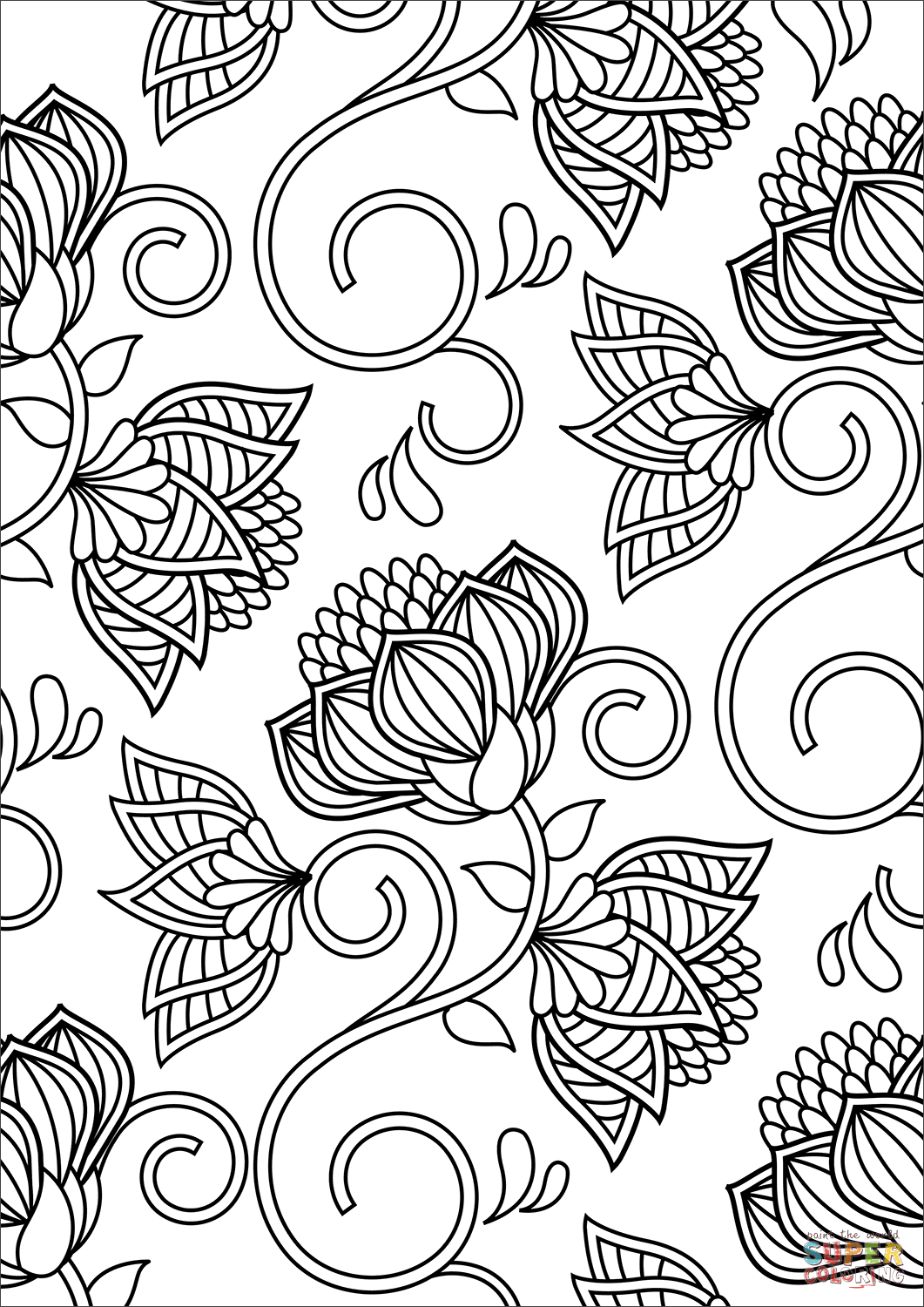 simple patterns to colour floral pattern coloring page free printable coloring pages colour simple to patterns