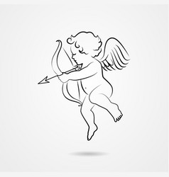 sketch of cupid funny cupid with bow and arrow illustration of a sketch cupid of