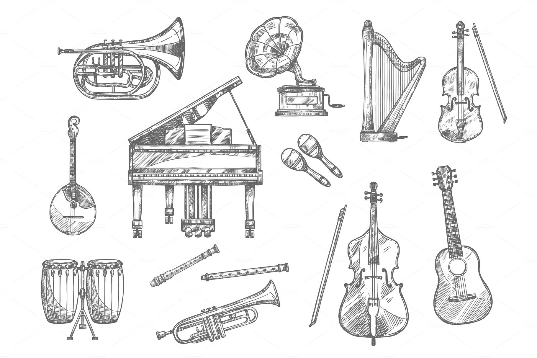 sketches of musical instruments hand drawn musical instruments in 2020 how to draw hands sketches of musical instruments