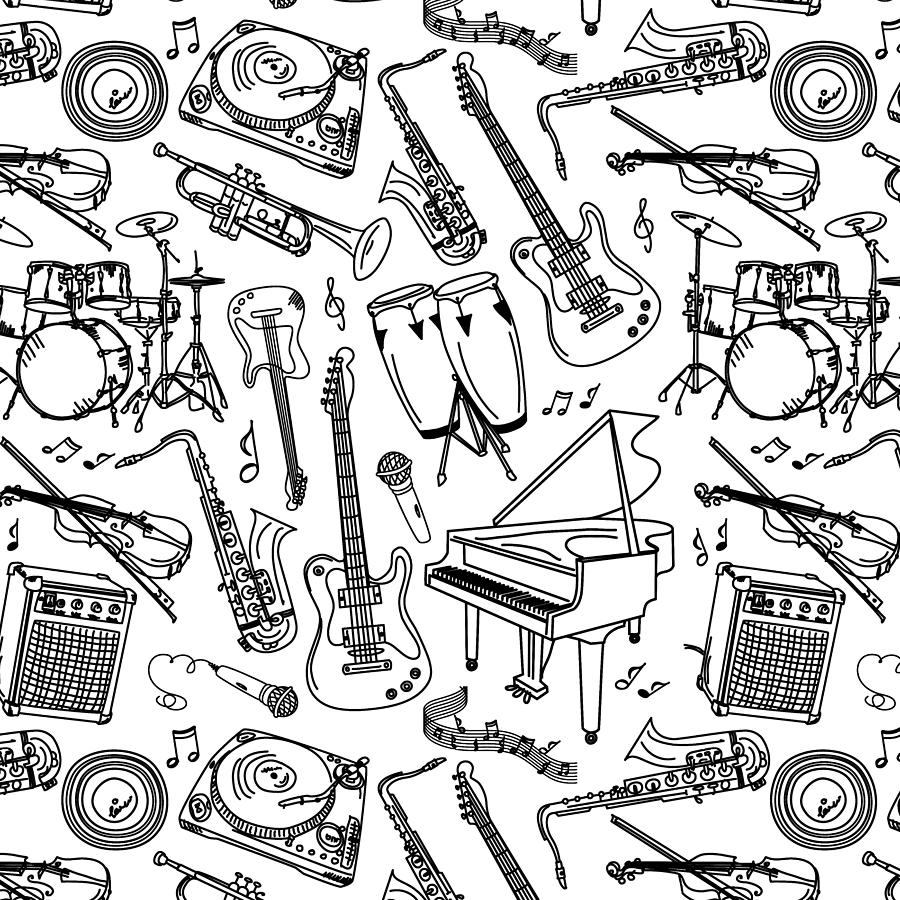sketches of musical instruments musical instruments drawings clipartsco sketches instruments musical of