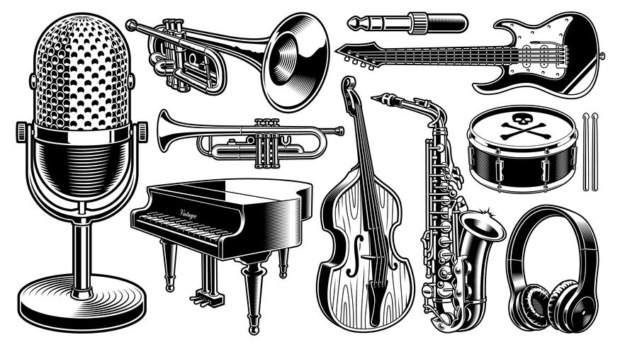 sketches of musical instruments set of black and white illustrations of musical instruments musical of sketches