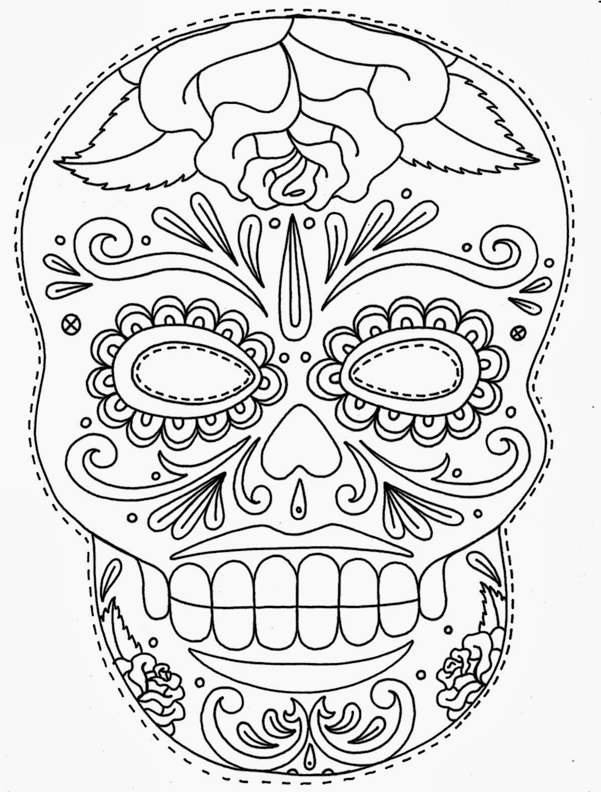 skull tattoo coloring pages mexican sugar skull coloring pages at getdrawings free tattoo skull pages coloring