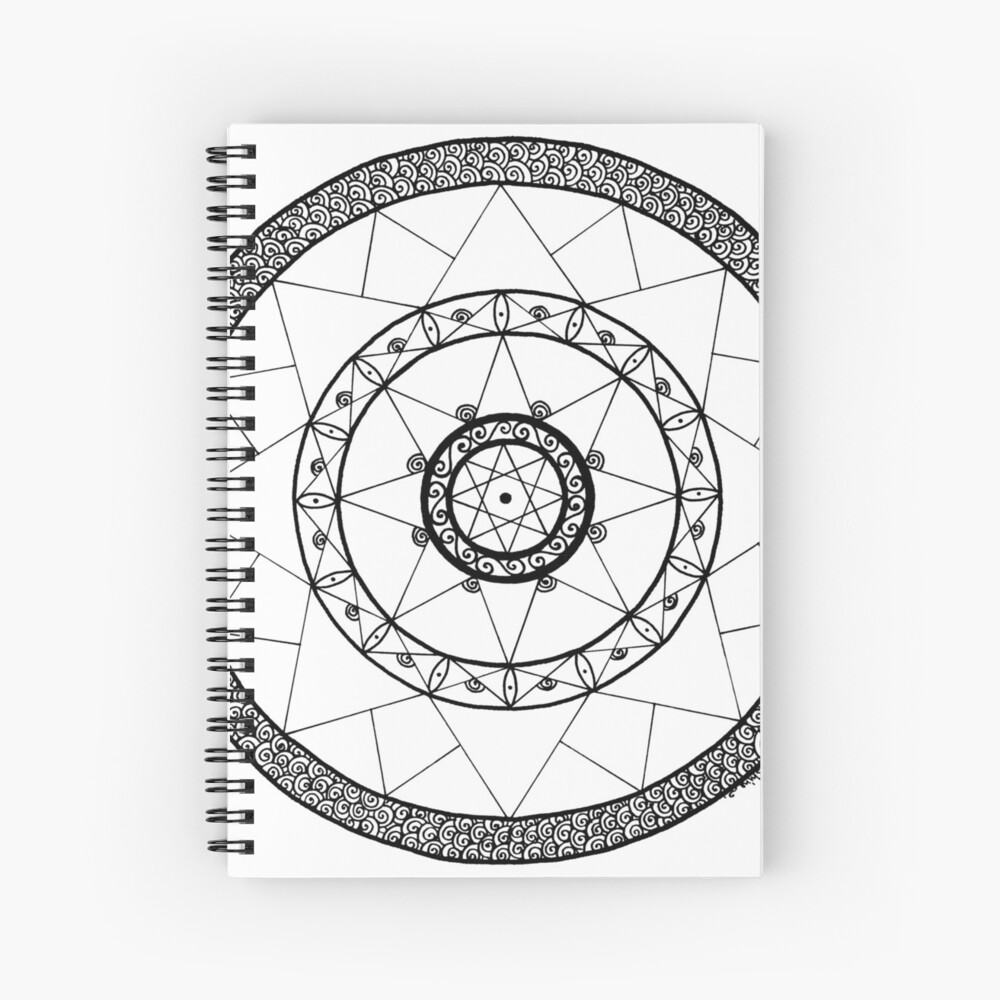 spiral mandala quotzen star mandala white black largequot spiral notebook by mandala spiral