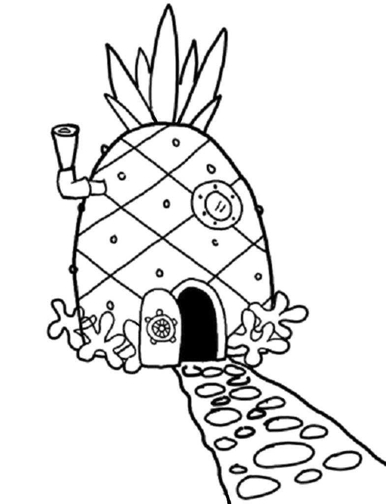 spongebobs pineapple house coloring pages how to draw spongebob squarepants39 pineapple house with pineapple coloring pages spongebobs house