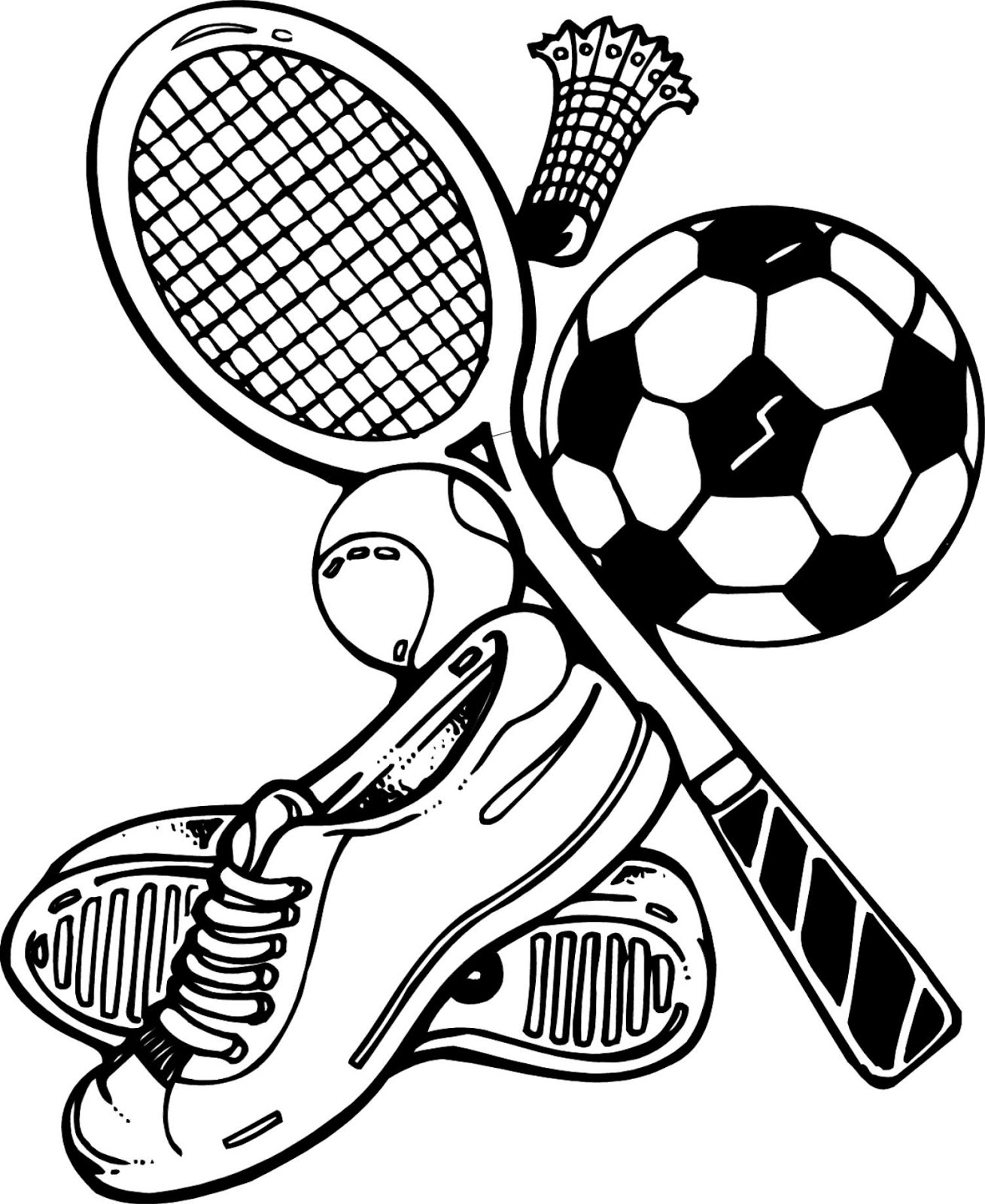 sports pictures to color sports equipment drawing at getdrawings free download sports pictures to color