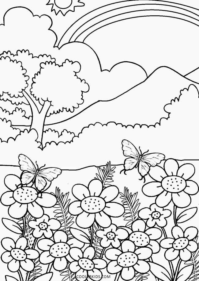 spring nature coloring pages cute spring flowers flowers adult coloring pages coloring nature spring pages