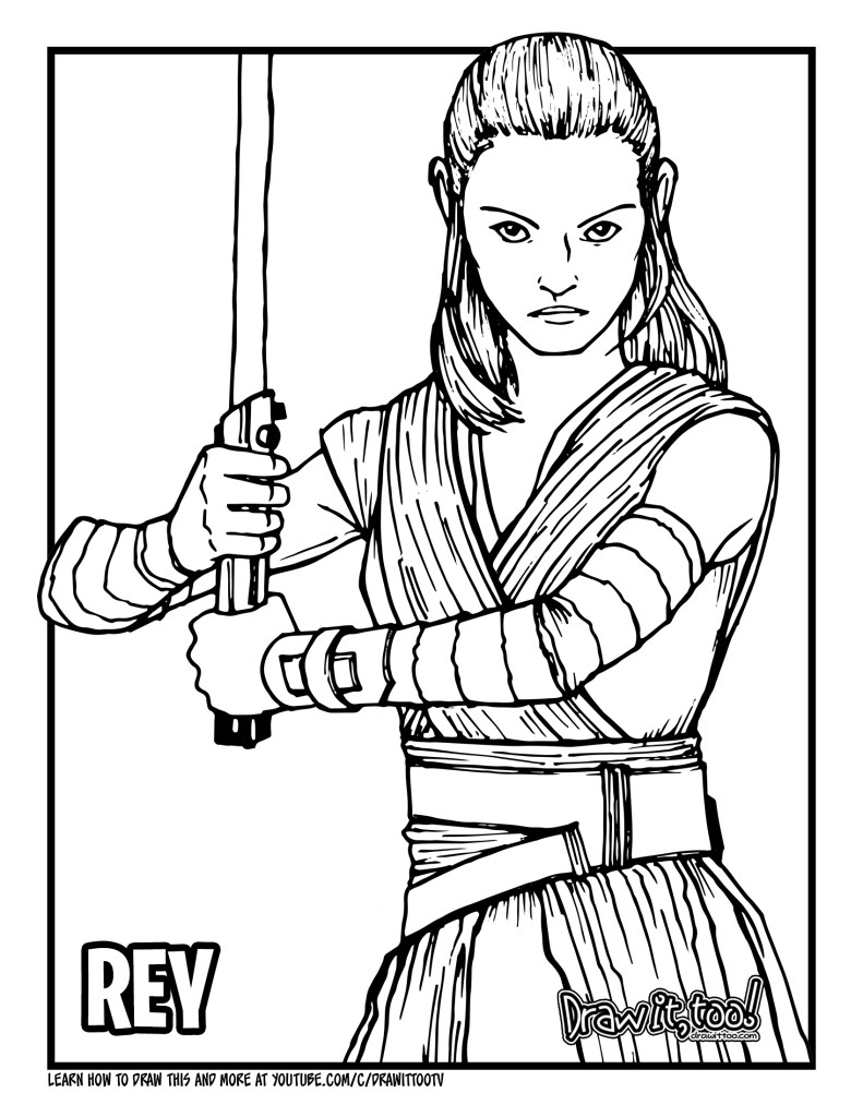 star wars rey coloring pages how to draw rey star wars drawing tutorial draw it too wars coloring rey star pages
