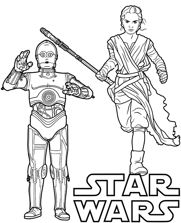 star wars rey coloring pages rey and c 3po on star wars printable coloring page sheet rey coloring wars pages star