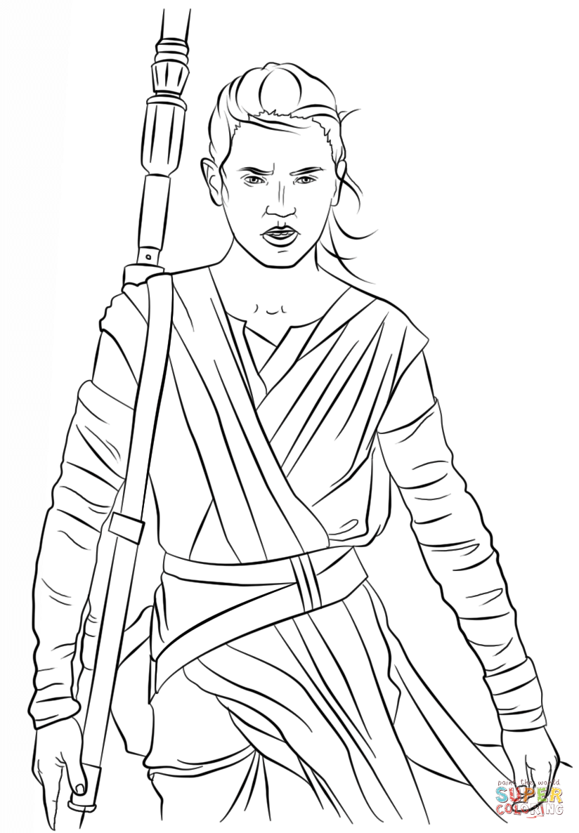 star wars rey coloring pages rey from the force awakens coloring page free printable coloring rey pages star wars