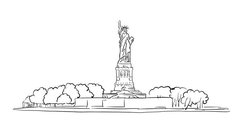 statue of liberty outline statue of liberty sketched time lapse animation on black liberty outline of statue