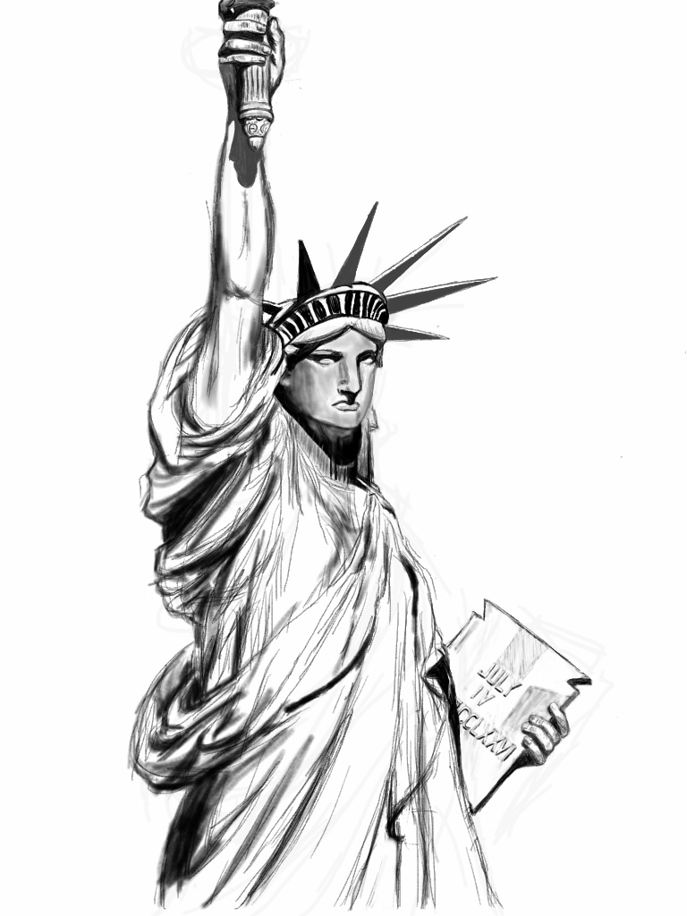 statue of liberty sketch statue of libertys project sketch stock illustration statue sketch liberty of