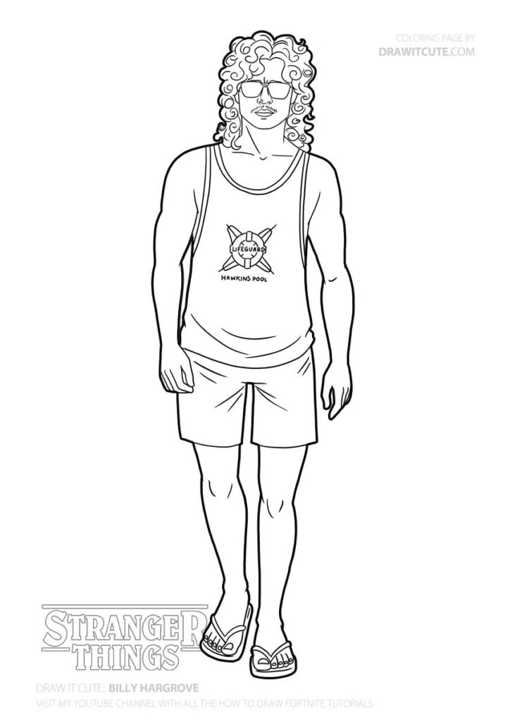 stranger things 3 coloring sheet how to draw billy hargrove stranger things 3 draw it cute stranger things 3 sheet coloring