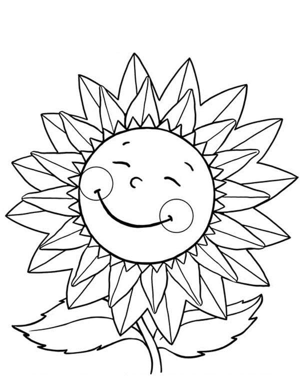 sunflower pictures to colour in happy sunflower coloring page happy sunflower coloring to sunflower pictures in colour