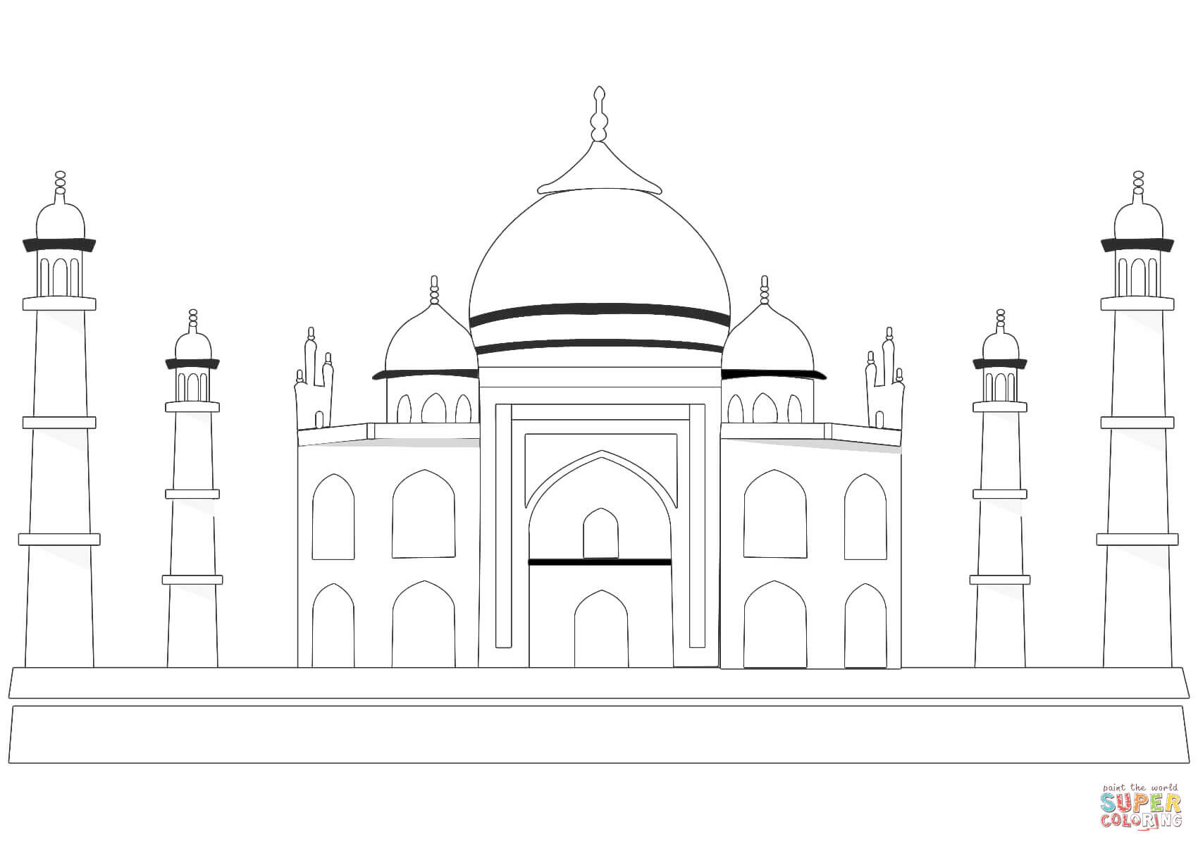 taj mahal outline drawing realistic drawing of taj mahal coloring page taj mahal taj drawing mahal outline