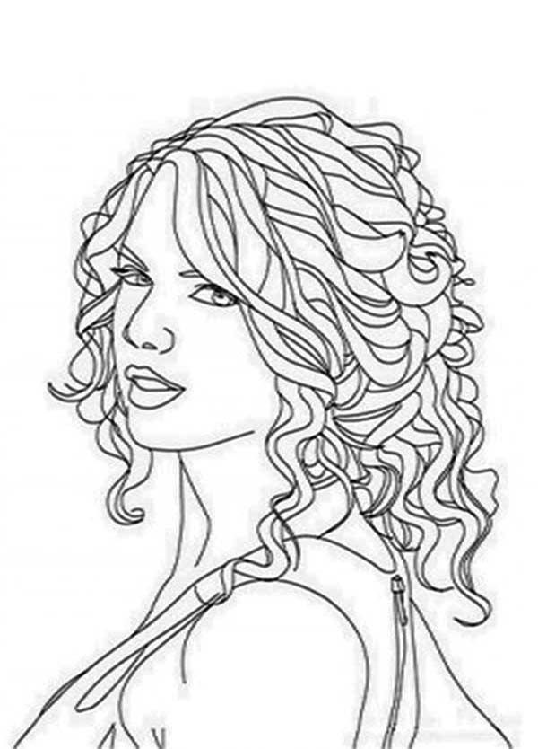 taylor swift coloring pages taylor swift curly hair coloring page color luna pages taylor coloring swift