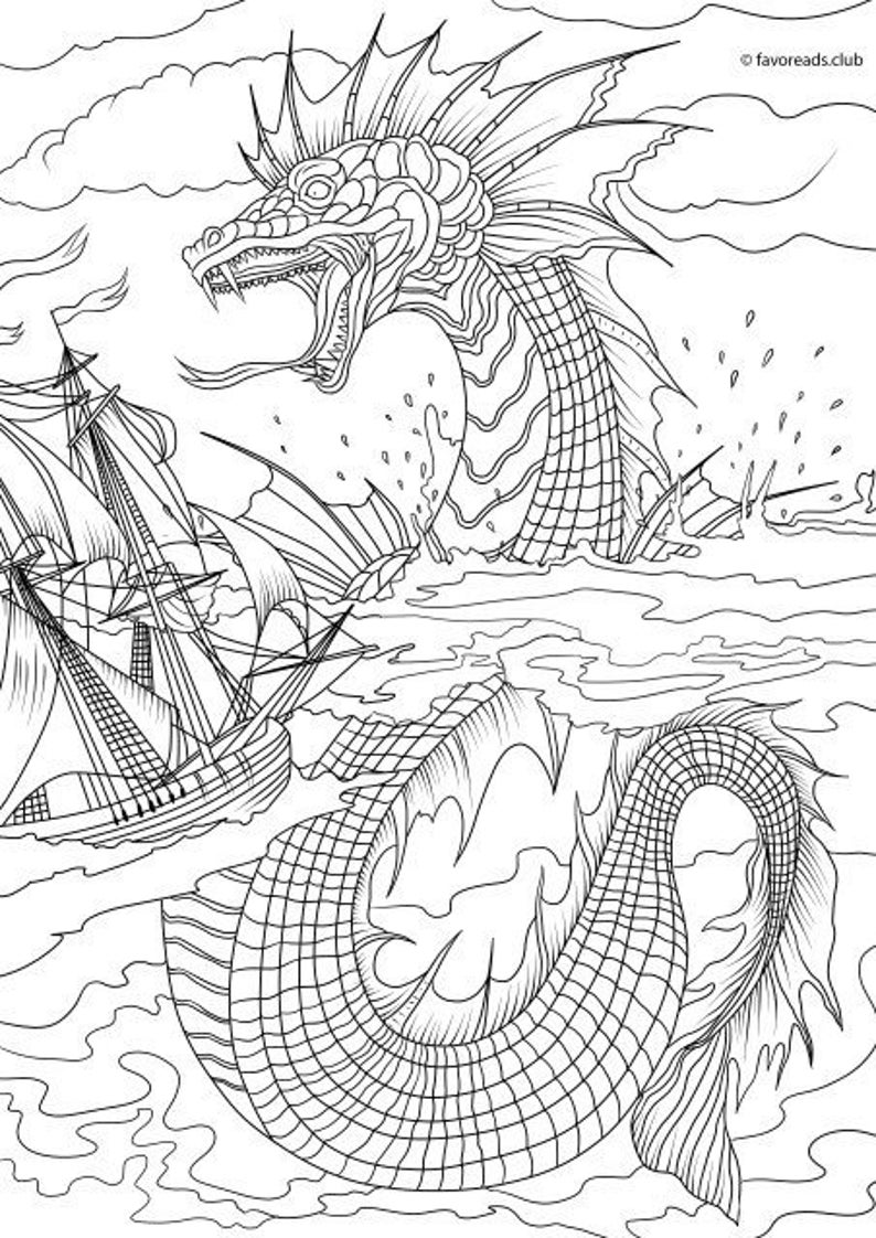 the color monster coloring pages sea monster printable adult coloring page from favoreads monster color the coloring pages