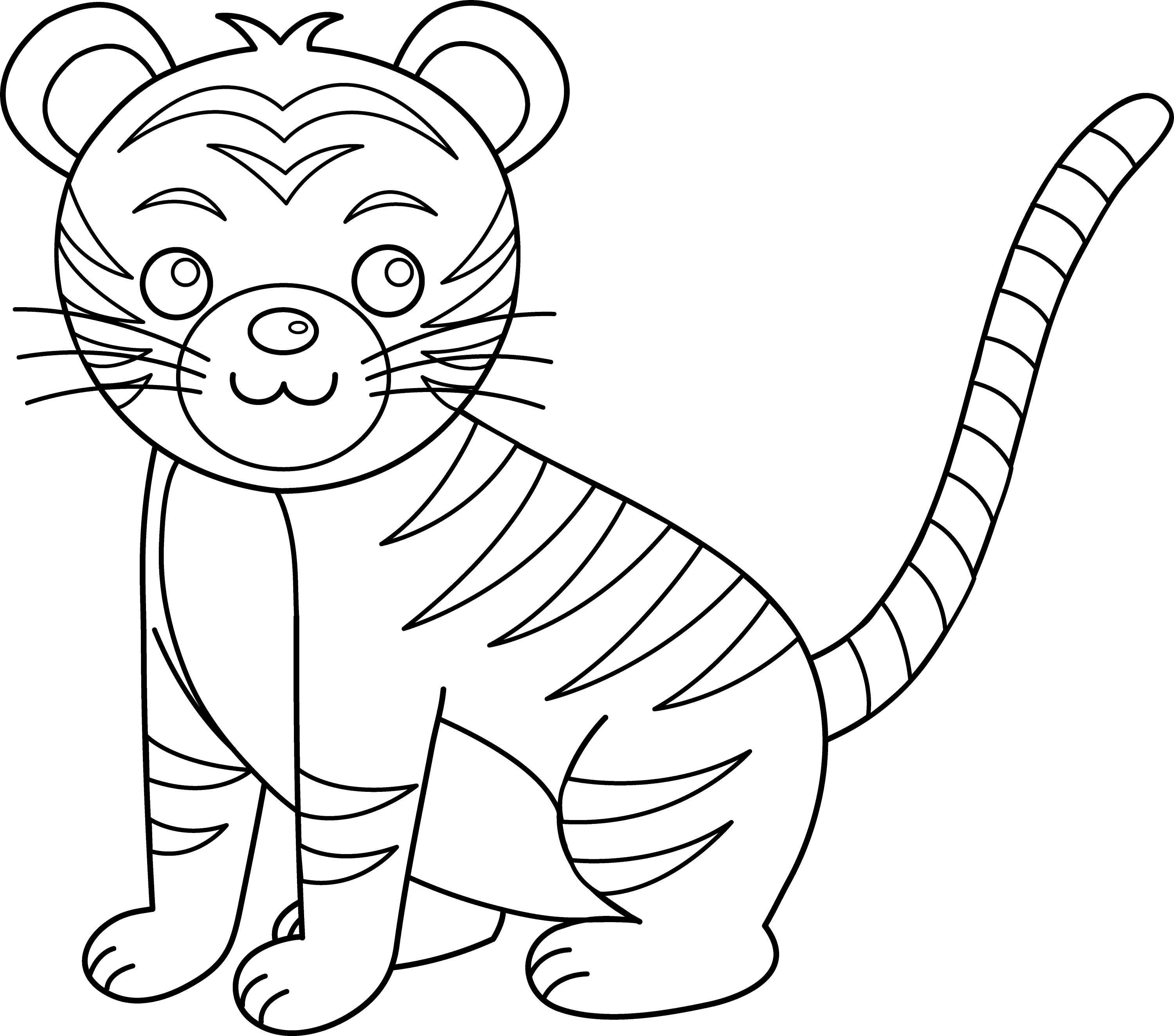tiger outline drawing pictures of tigers at getdrawings free download tiger outline