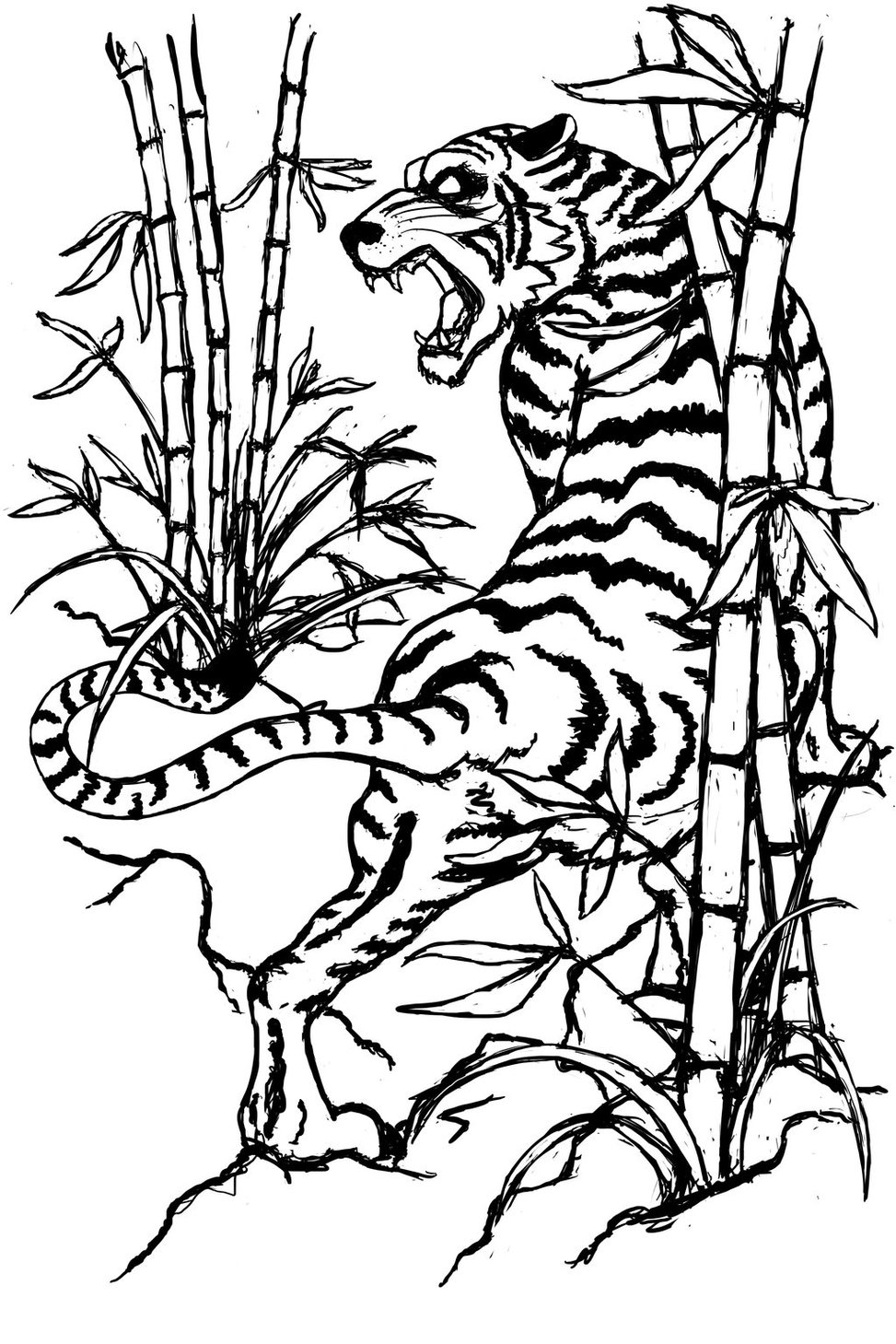 tiger outline tiger standing looking and watching outline clip art at tiger outline