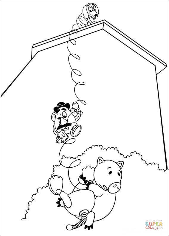 toy story hamm coloring page hamm mr potato head and slinky dog coloring page free hamm story page toy coloring