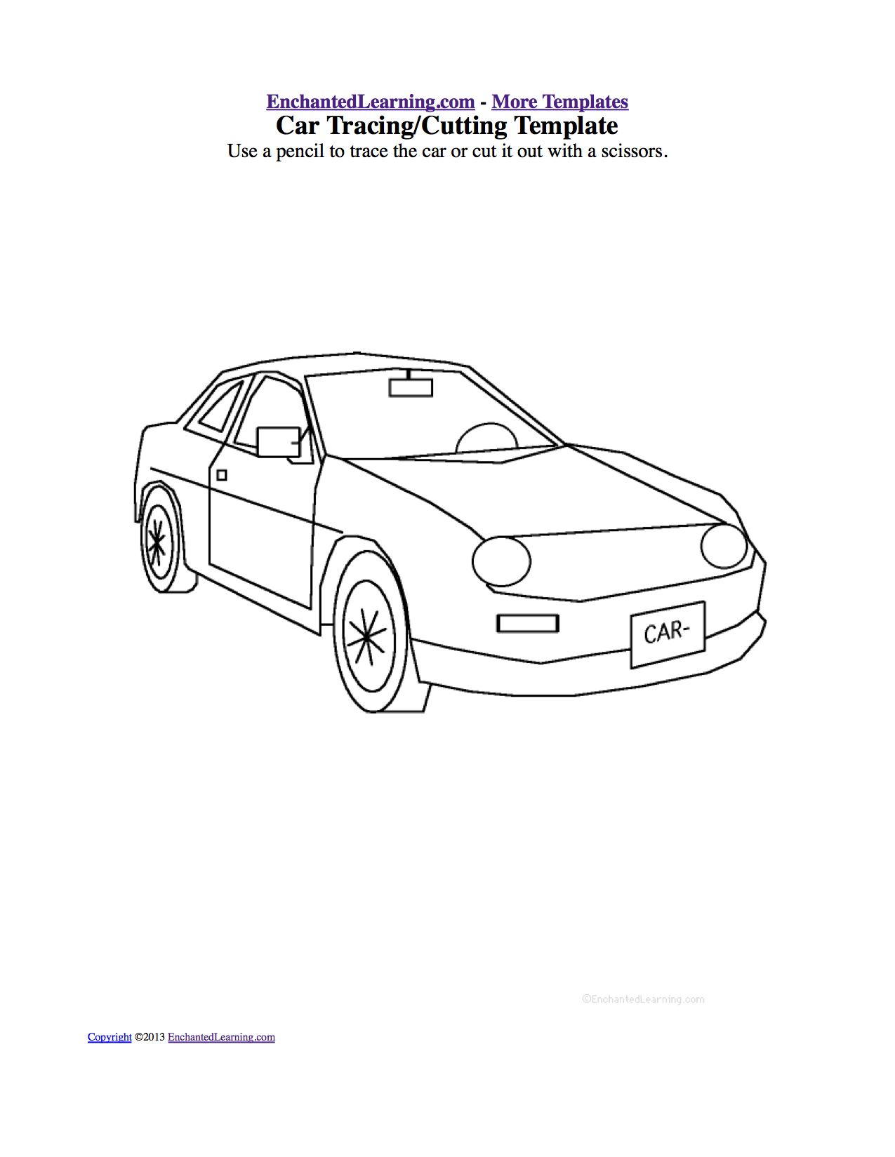 traceable car pictures tracingcutting templates enchantedlearningcom car pictures traceable