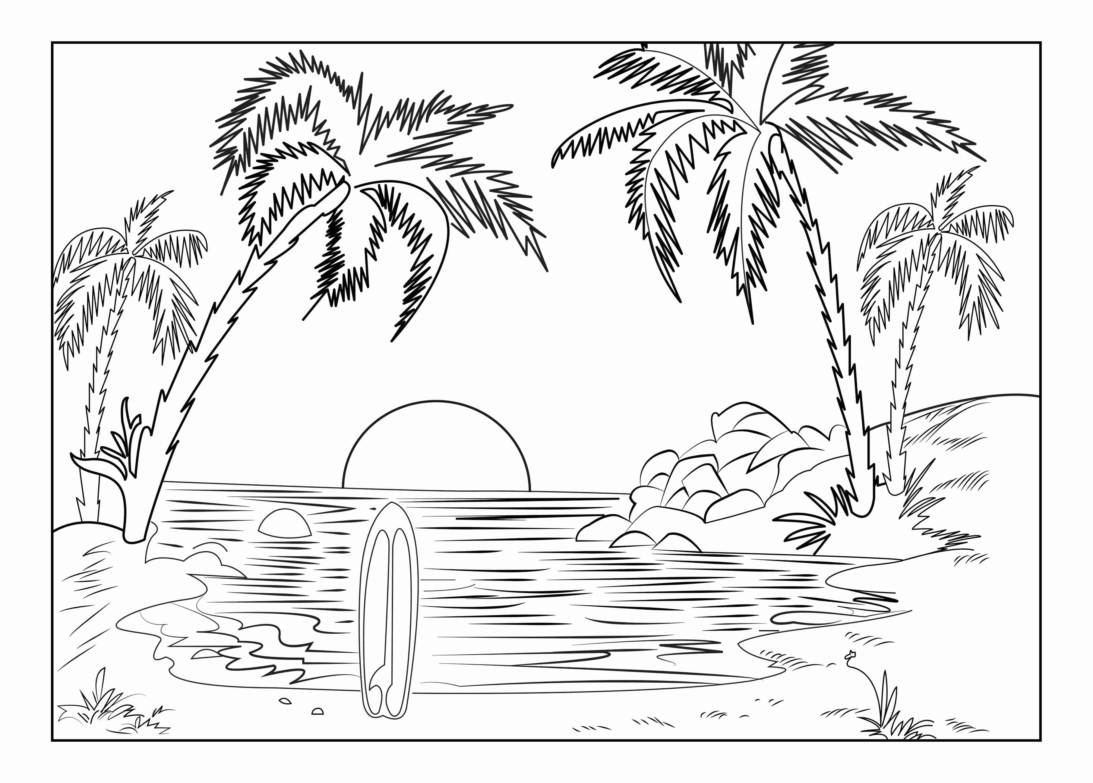 tropical beach coloring pages coloring page with beautiful tropical surf island drawing beach tropical coloring pages