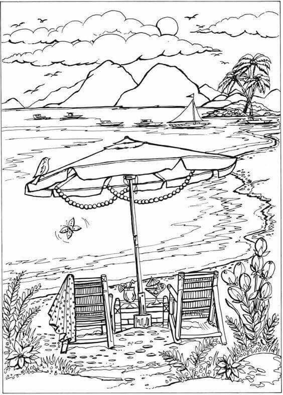 tropical beach coloring pages sunset drawing black and white at getdrawings free download pages coloring tropical beach