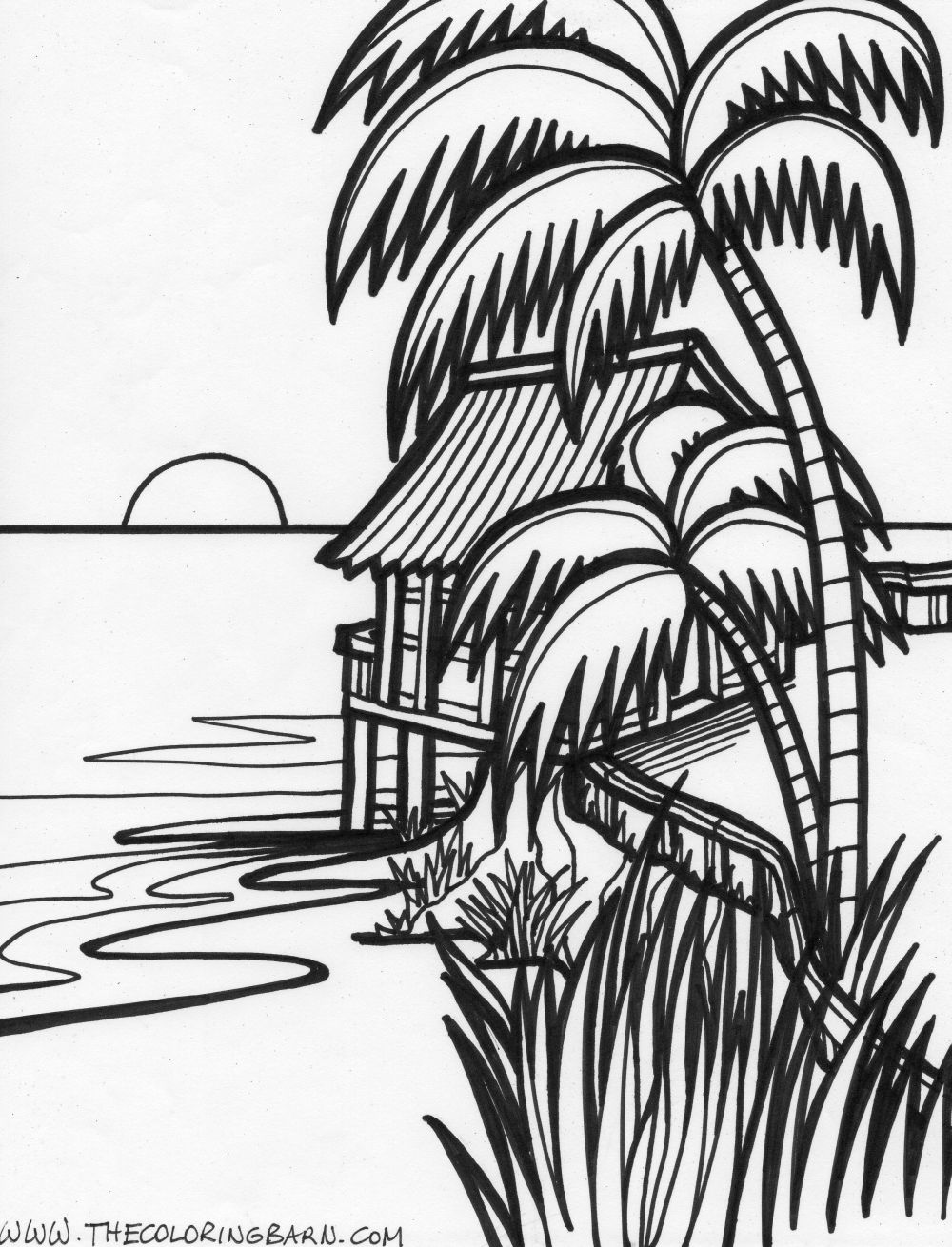 tropical beach coloring pages tropical beach coloring pages at getdrawings free download coloring tropical beach pages