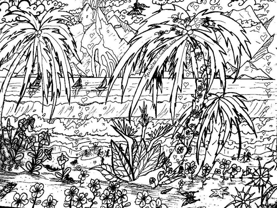 tropical coloring sheets tropical leaves coloring page audrey chenal in 2020 tropical coloring sheets