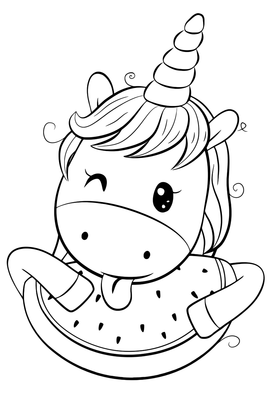 unicorn coloring unicorn drawing cute unicorn with watermelon coloring pages for you drawing unicorn unicorn coloring