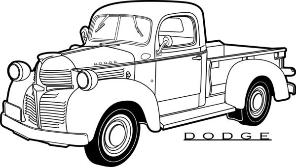 vintage truck coloring page line drawing old dodge pickup truck google search page truck coloring vintage