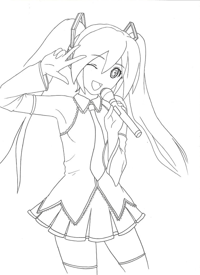 vocaloid coloring pages hatsune miku lineart by kasugaichi on deviantart coloring vocaloid pages