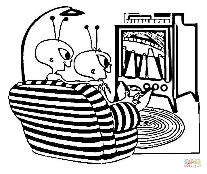 watching tv coloring pages cartoon black and white line drawing of a guy eating watching coloring tv pages